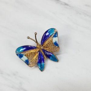 {Vintage} Gold Tone Filigree Enamel Butterfly Pin